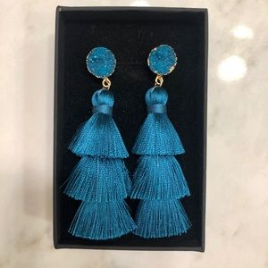 blue tassel statement earrings with stone studs